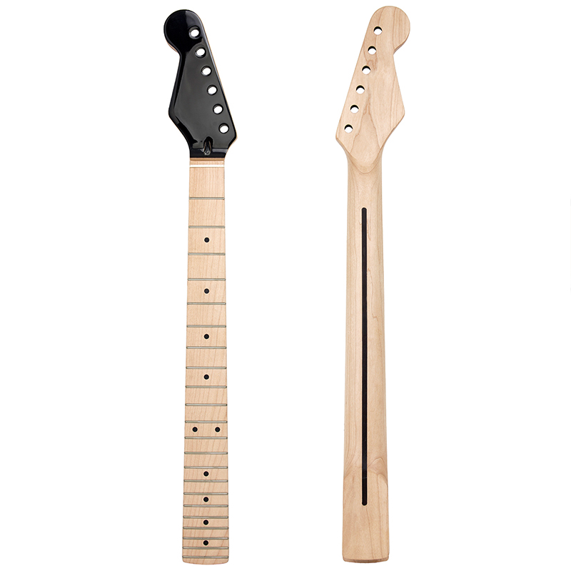 Kmise Electric Guitar Neck for Left Hand Fender Start Clear Satin Canada Maple 22 Frets Dual Truss Rod Bolt On 10mm Tuner Hole