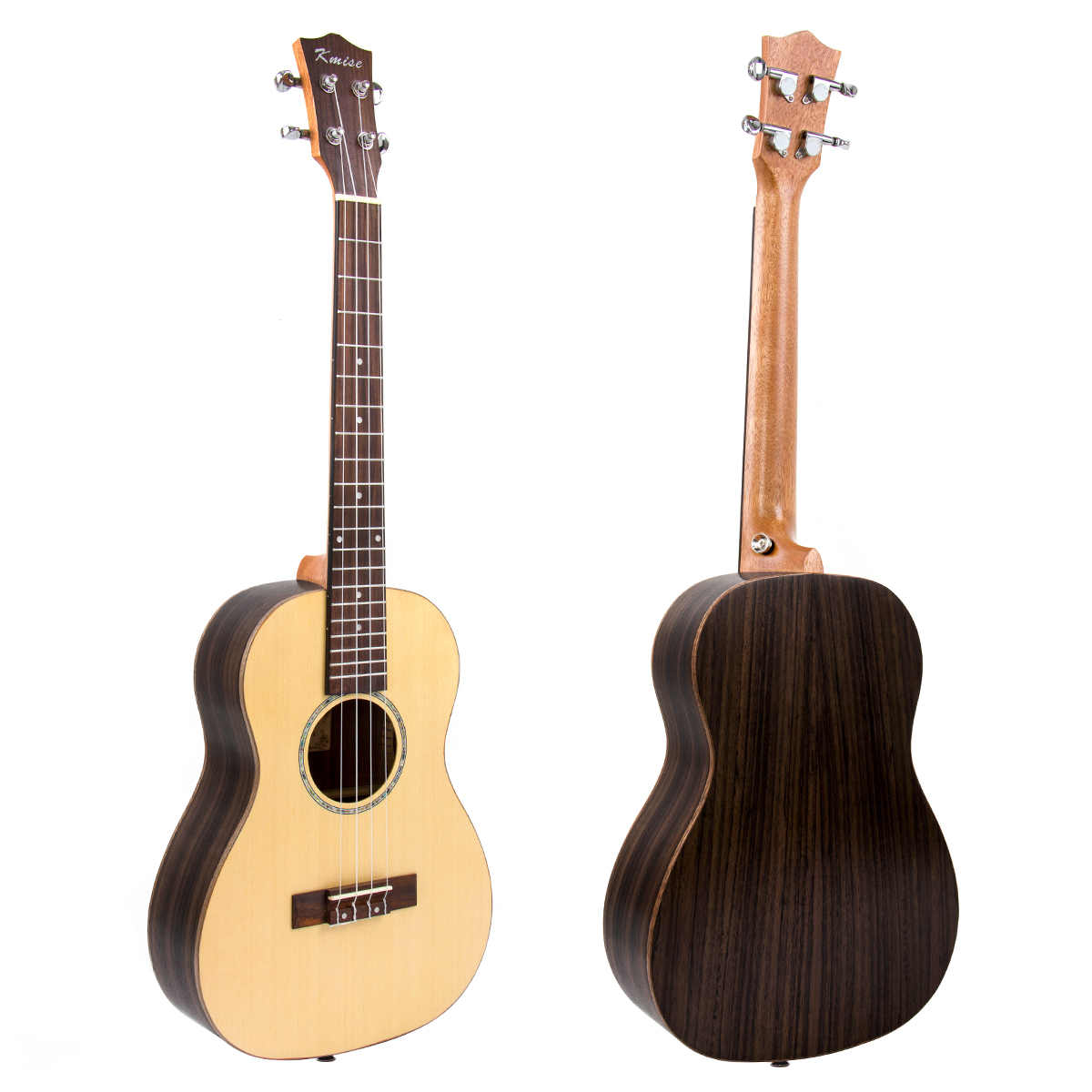 Kmise Baritone Ukulele Solid Spruce 30 inch Bone Nut & Saddle with Dual Truss Rod Aquila String G-C-E-A