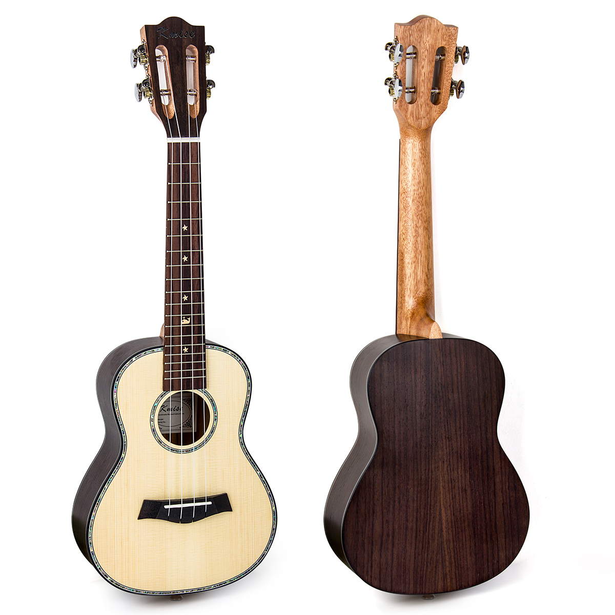 Kmise Concert Ukulele Solid Spruce 23 inch Classical Guitar Head 18 Frets Aquila String G-C-E-A