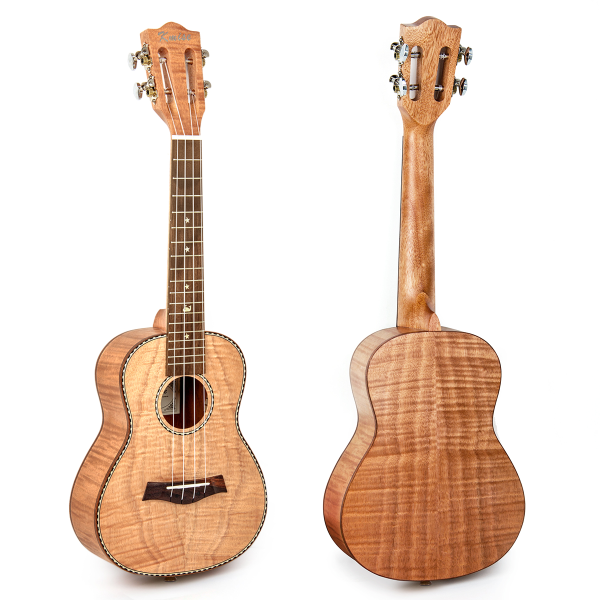 Kmise Concert Ukulele Tiger Flame Okoume 23 inch Classical Guitar Head 18 Frets Aquila String G-C-E-A Bone Nut & Saddle