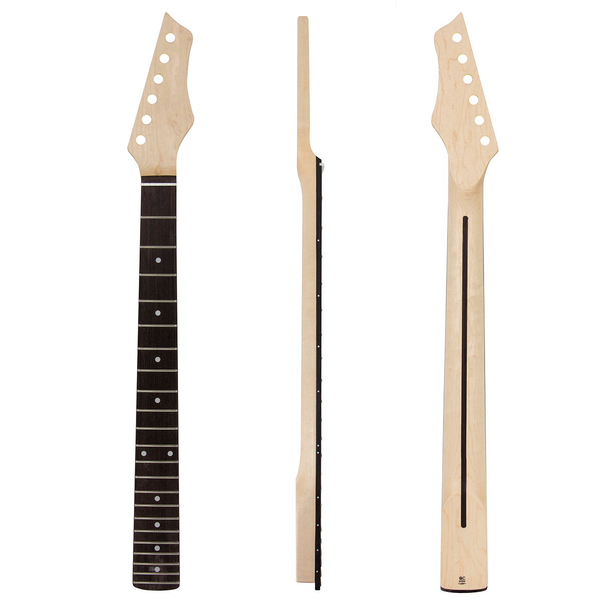Kmise Electric Guitar Neck Canada Maple 22 Frets HPL Fingerboard Bolt on C Shape with Back Inlay Clear Satin