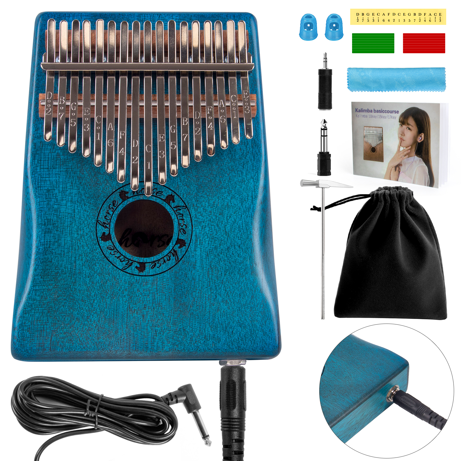 Horse 17 Key EQ Kalimba,Electric Finger Thumb Pi...