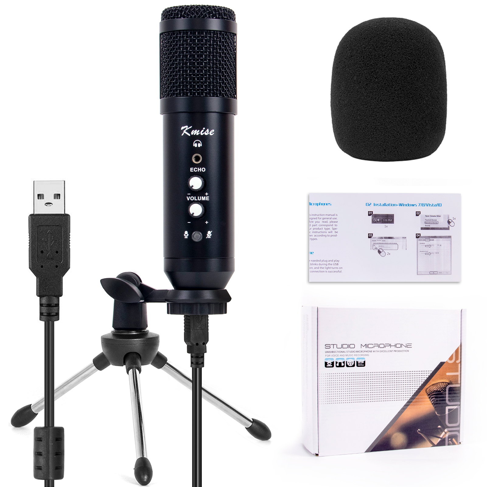 USB Condenser Microphone for Window&Mac,Multipurpose Mic for Gaming Recording Broadcast with Adjustable Mic Stand From Kmise